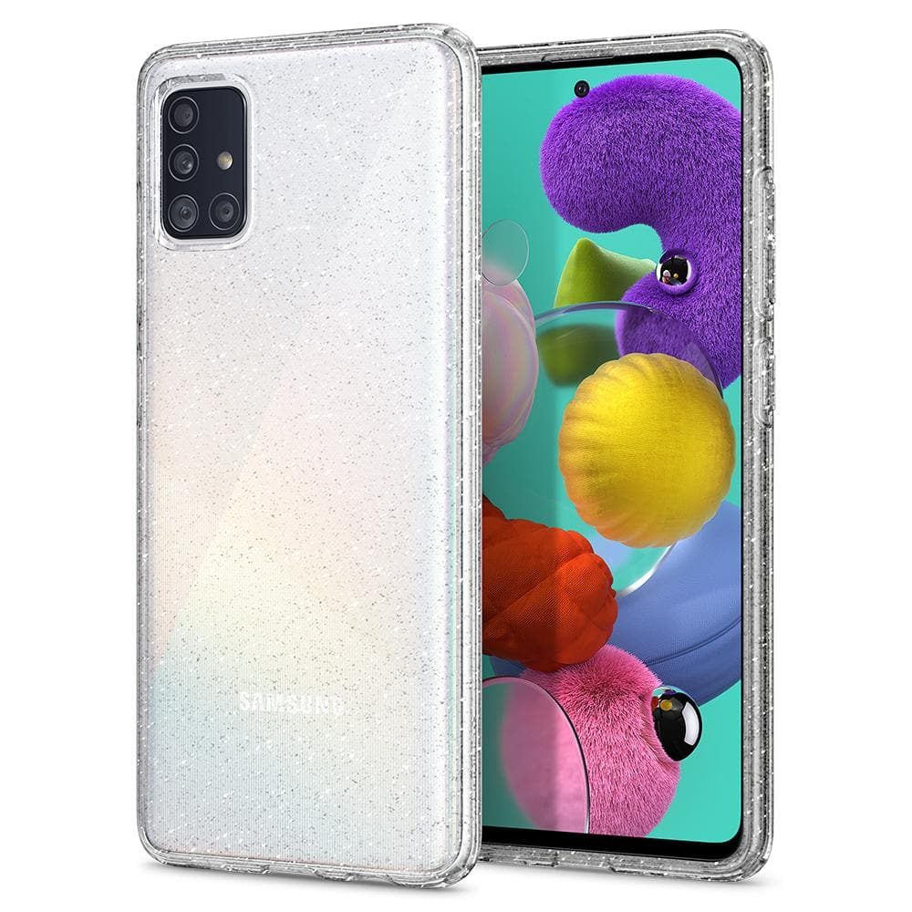 Galaxy A51 Case Liquid Crystal Glitter in crystal quartz showing the back and front