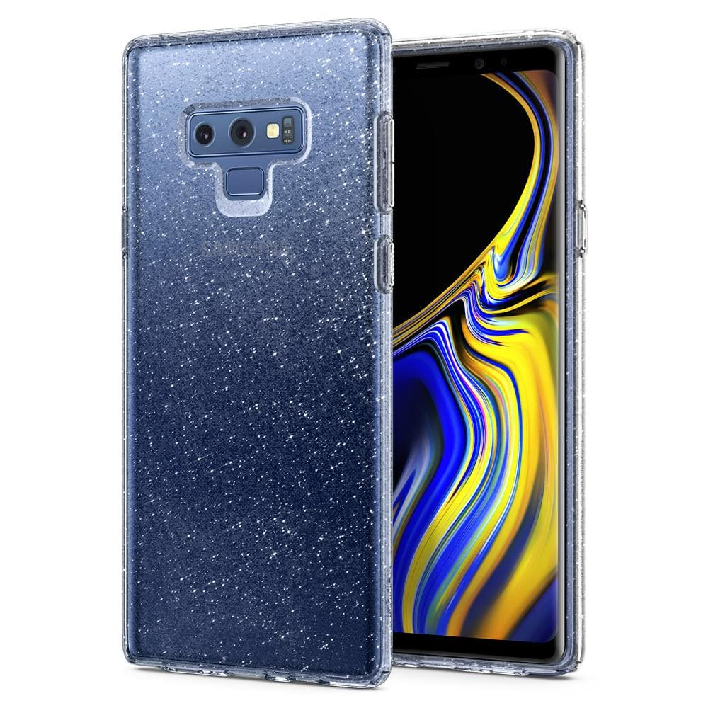 Liquid Crystal Glitter	Crystal Quartz	Case	back design and a front view of the edge around the	Galaxy Note 9	device.