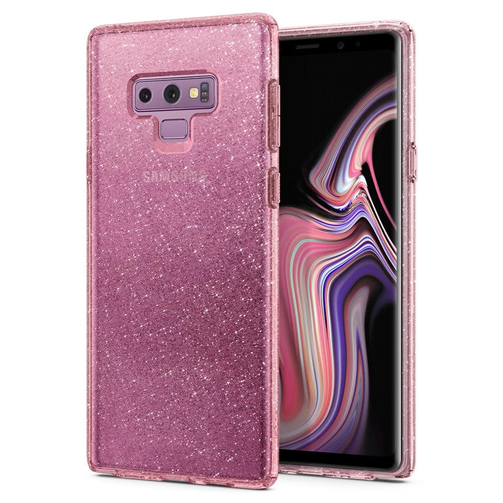 Liquid Crystal Glitter	Rose Quartz	Case	back design and a front view of the edge around the	Galaxy Note 9	device.