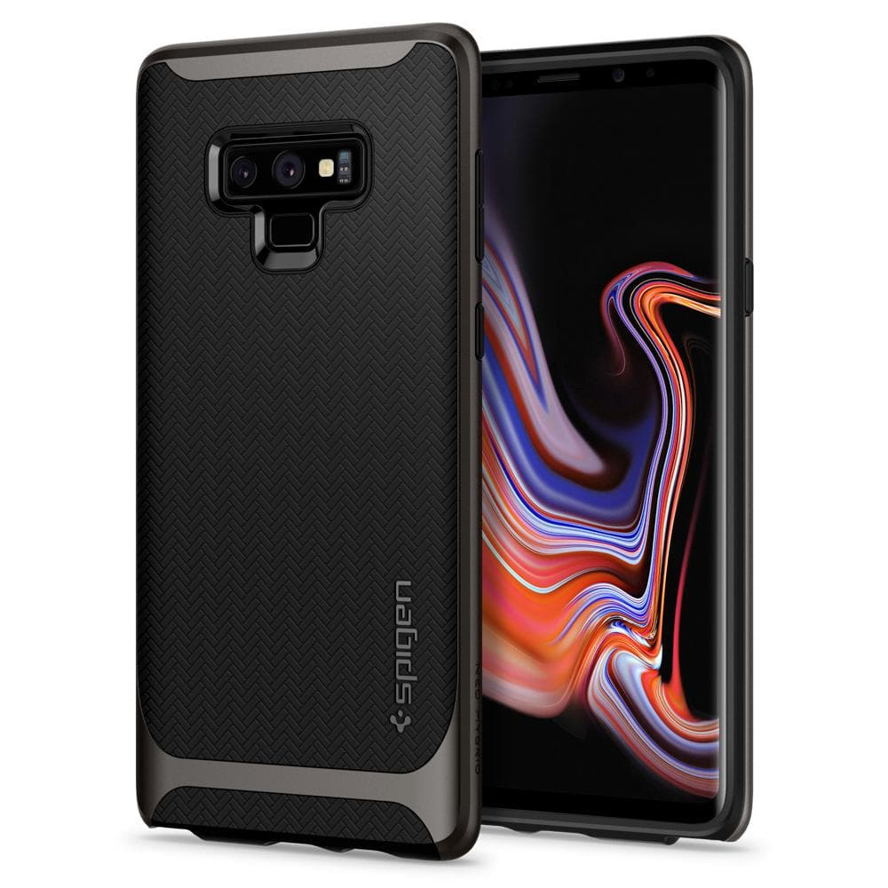 Neo Hybrid	Gunmetal	Case	back design and a front view of the edge around the	Galaxy Note 9	device.
