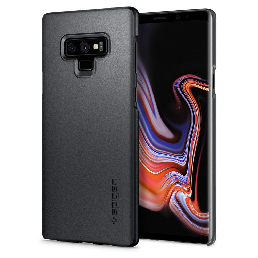Thin Fit	Graphite Gray	Case	back design and a front view of the edge around the	Galaxy Note 9	device.