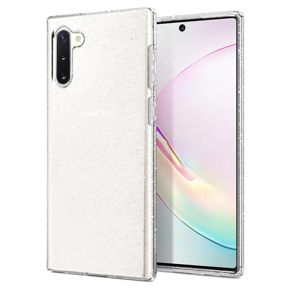 Galaxy Note 10 Case Liquid Crystal Glitter in crystal quartz showing the back and front