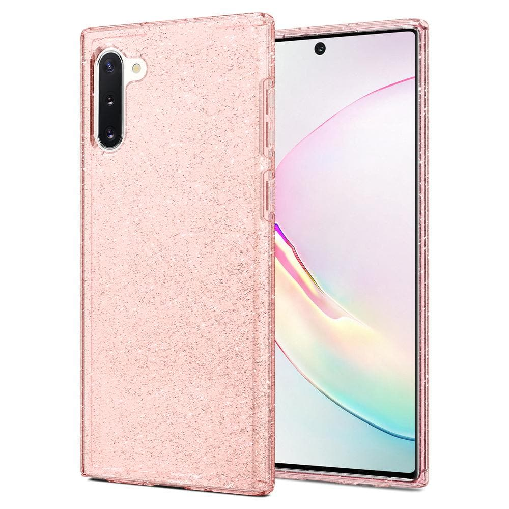 Galaxy Note 10 Case Liquid Crystal Glitter in rose quartz showing the back and front