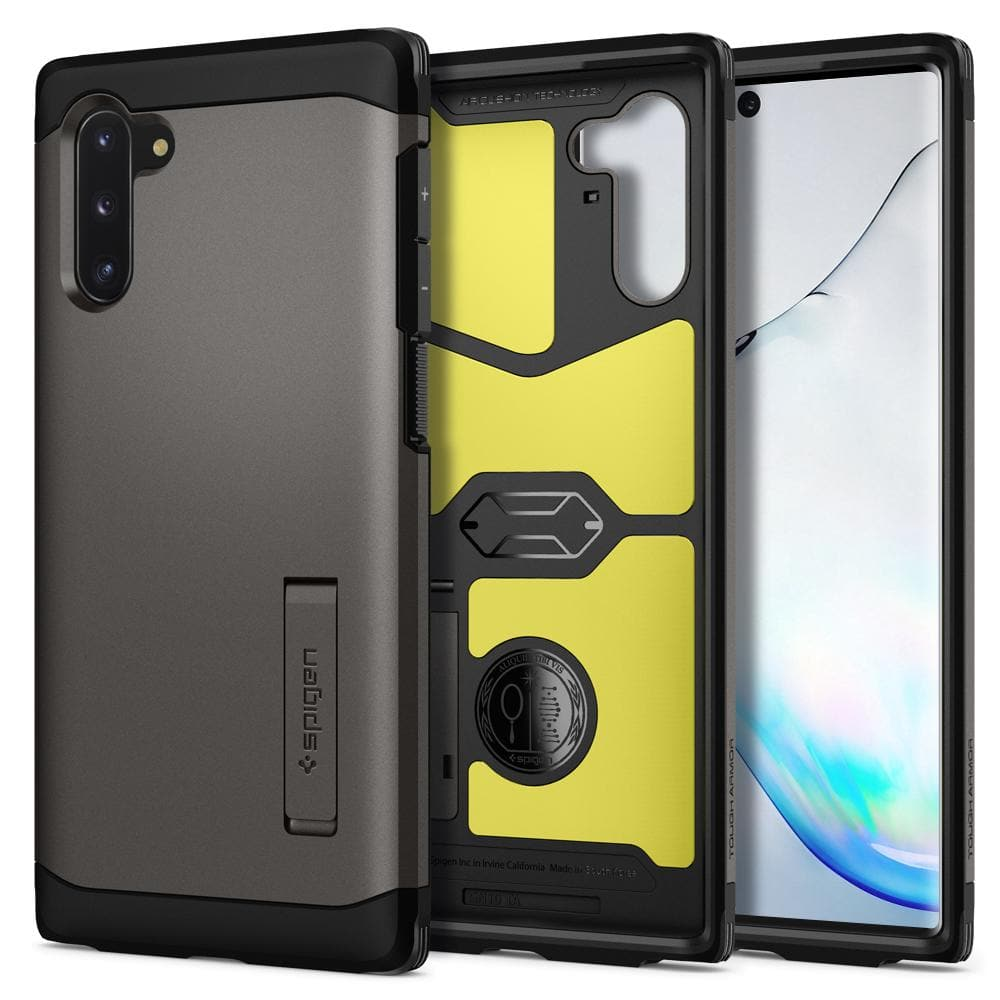 Galaxy Note 10 Case Tough Armor in gunmetal showing the back, inside, and front