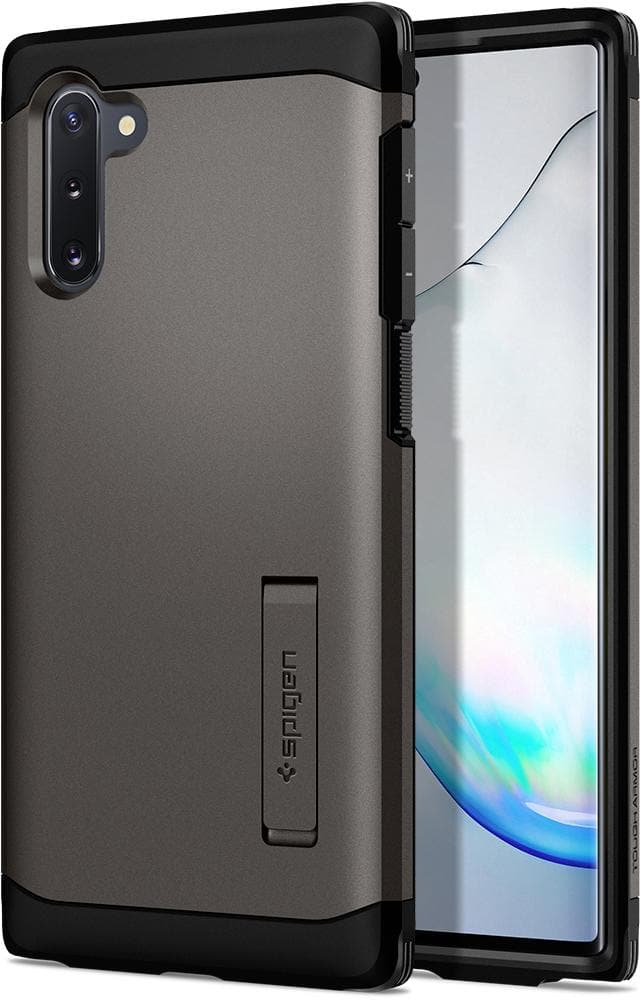 Galaxy Note 10 Case Tough Armor in gunmetal showing the back and front