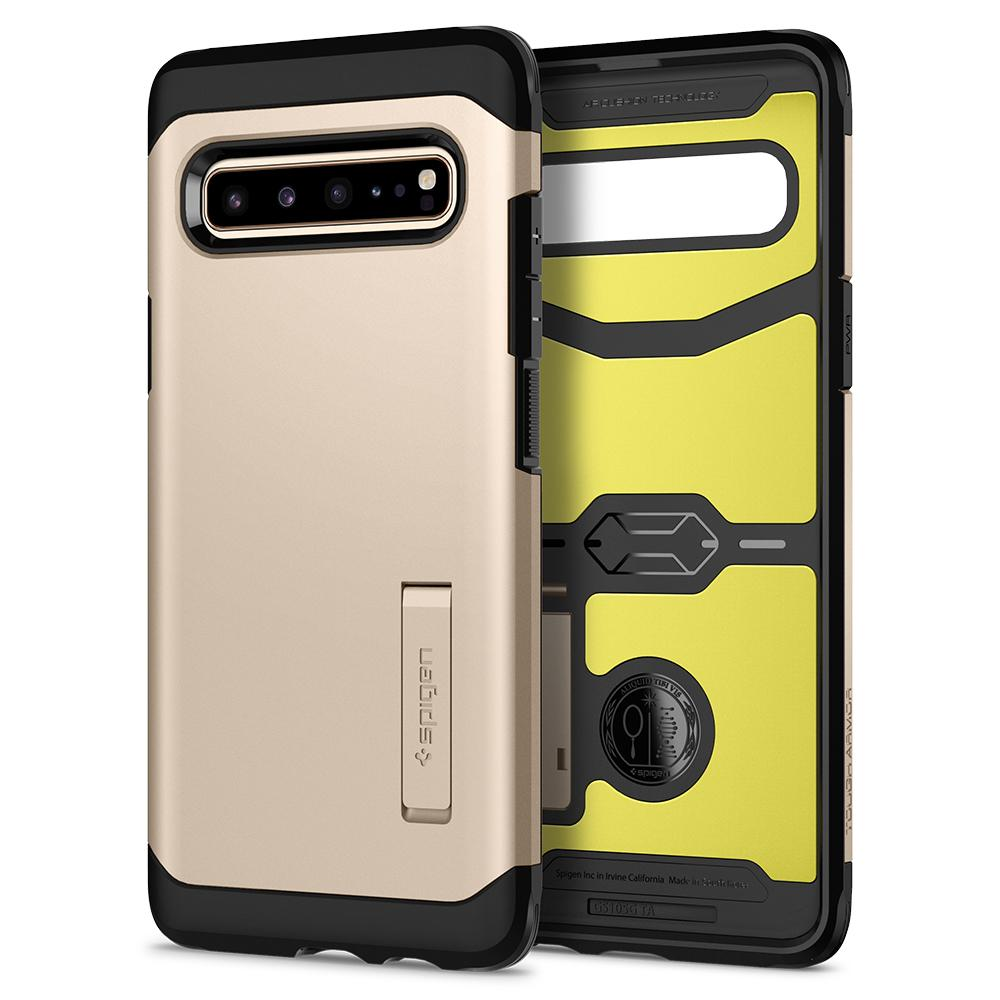 Tough Armor	Royal Gold Case	showing the back design and inner lining with yellow impact foam