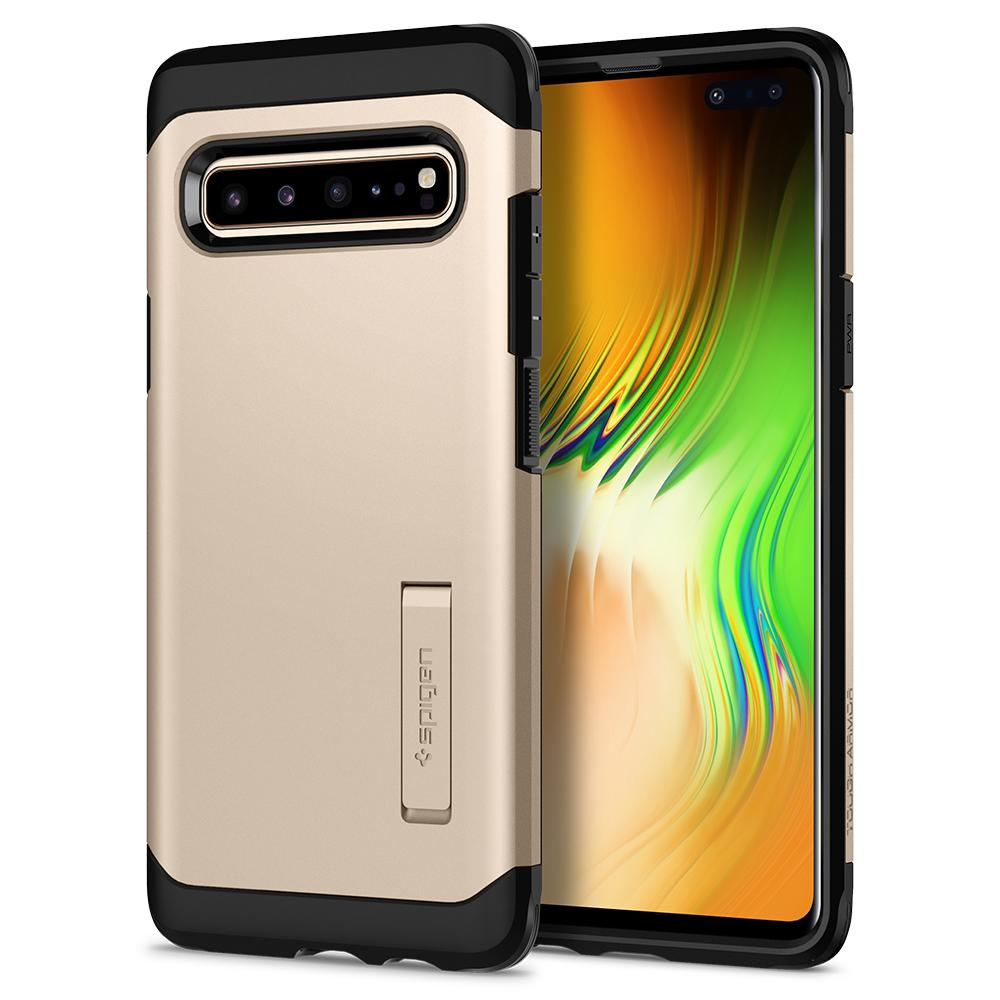 Tough Armor	Royal Gold Case	back design and a front view of the edge around the	Galaxy S10 5G	device.