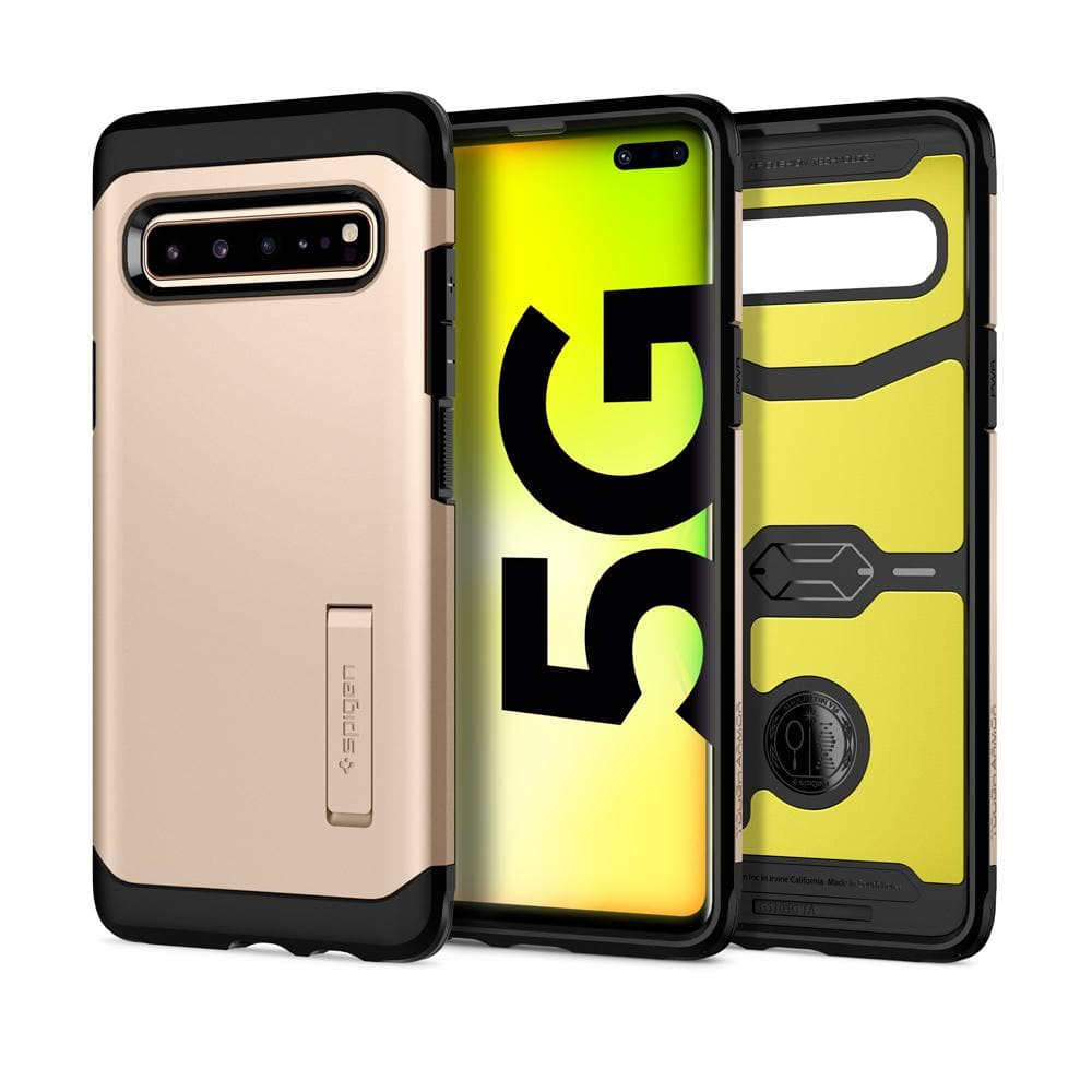 Tough Armor	Royal Gold Case	showing the back design, inner lining with yellow impact foam, and front view of the edge around the	Galaxy S10 5G	device.