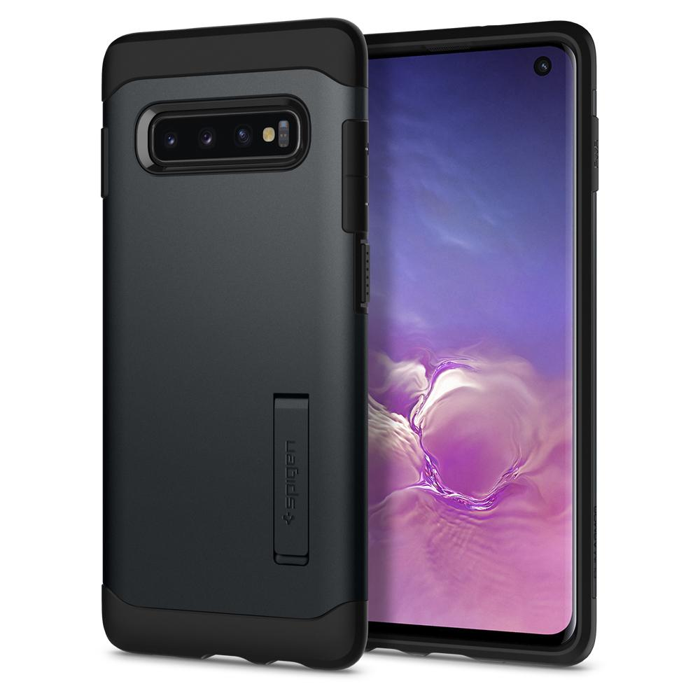 Slim Armor	Metal Slate	Case	back design and a front view of the edge around the	Galaxy S10	device.