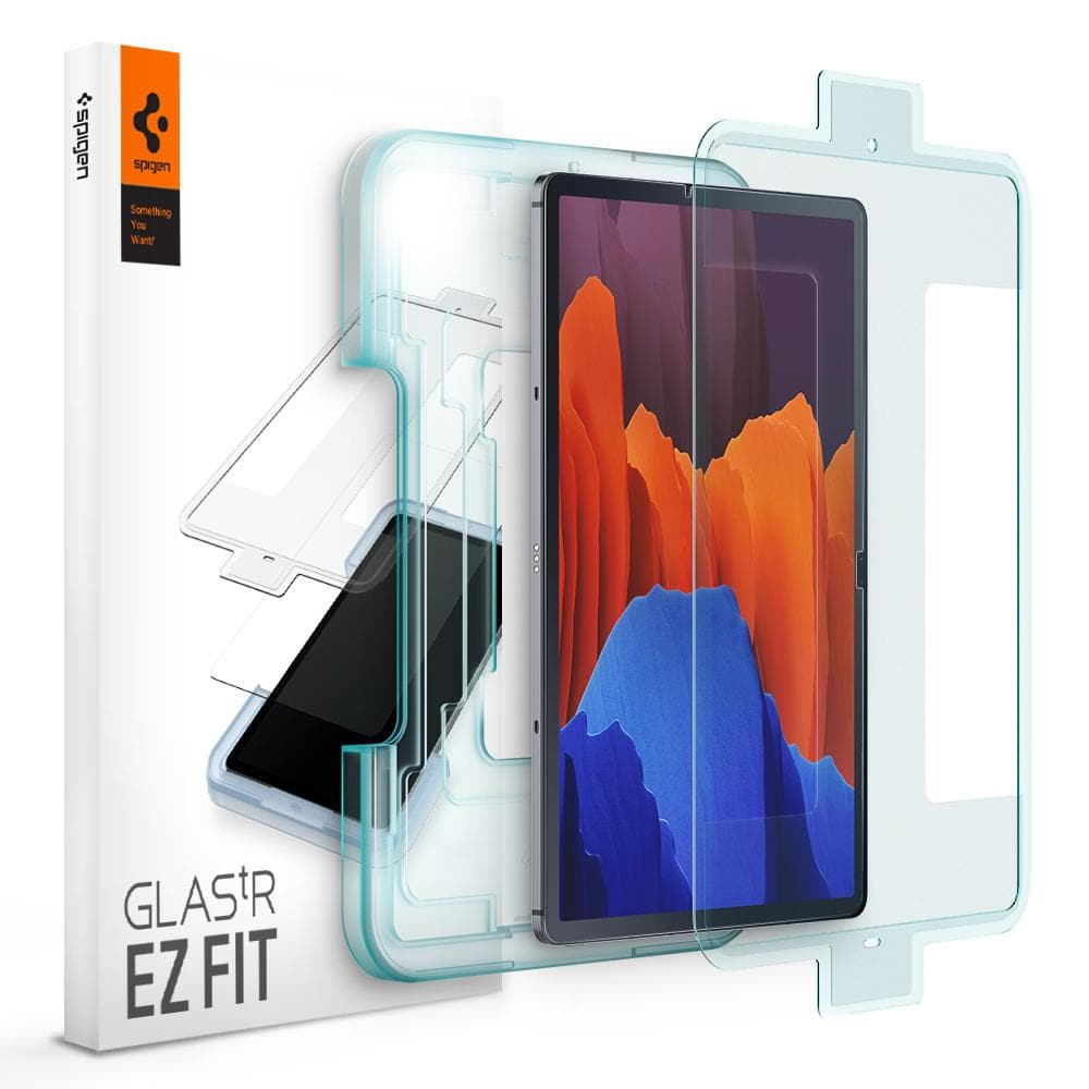 Galaxy Tab S7 Plus Screen Protector EZ FIT GLAS.tR showing the packaging, ez fit tray, tablet, and screen protector