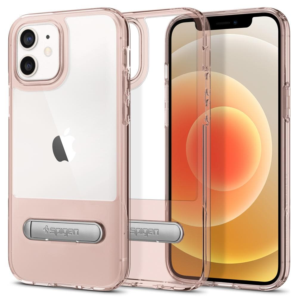 iPhone 12 Case Slim Armor Essential S in rose crystal showing the back, inside and front on iPhone 12