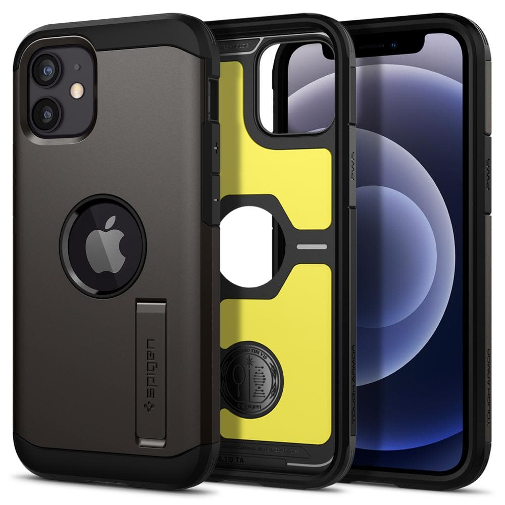 iPhone 12 Mini Case Tough Armor in gunmetal showing the back inside and front