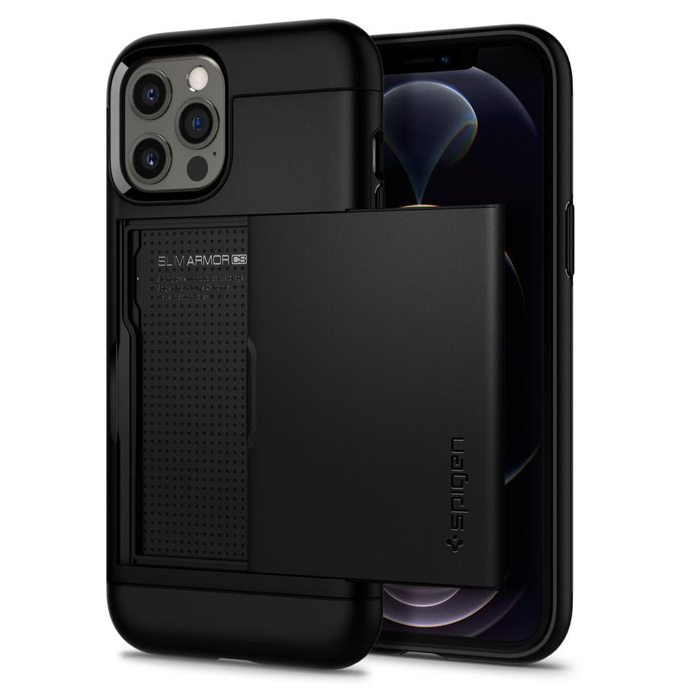 iPhone 12 Pro Max Case Slim Armor CS in black showing the front and back with card slot open