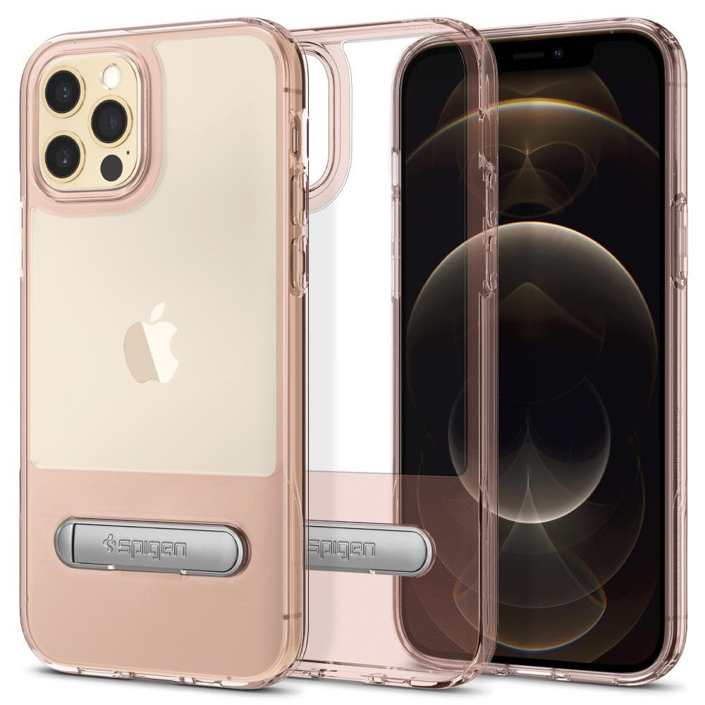 iPhone 12 Case Slim Armor Essential S in rose crystal showing the back, inside and front on iPhone 12 Pro