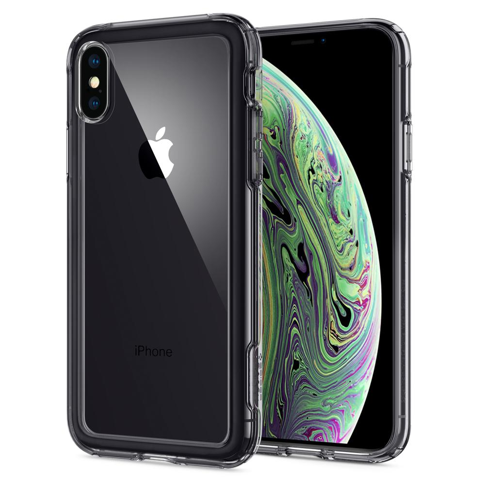 Slim Armor Crystal Dark Crystal Case	back design and a front view of the edge around the	iPhone XS/X	device.