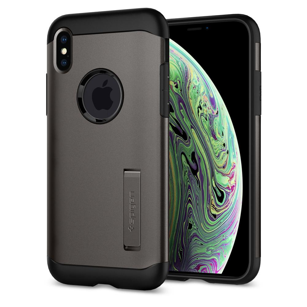 Slim Armor	Gunmetal	Case	back design and a front view of the edge around the	iPhone XS/X	device.