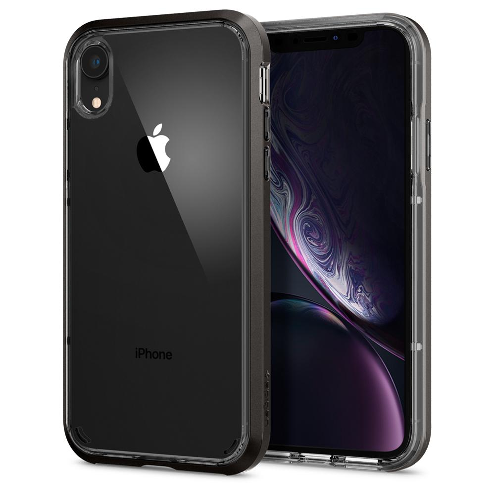 Neo Hybrid Crystal	Gunmetal	Case	back design and a front view of the edge around the	iPhone XR	device.