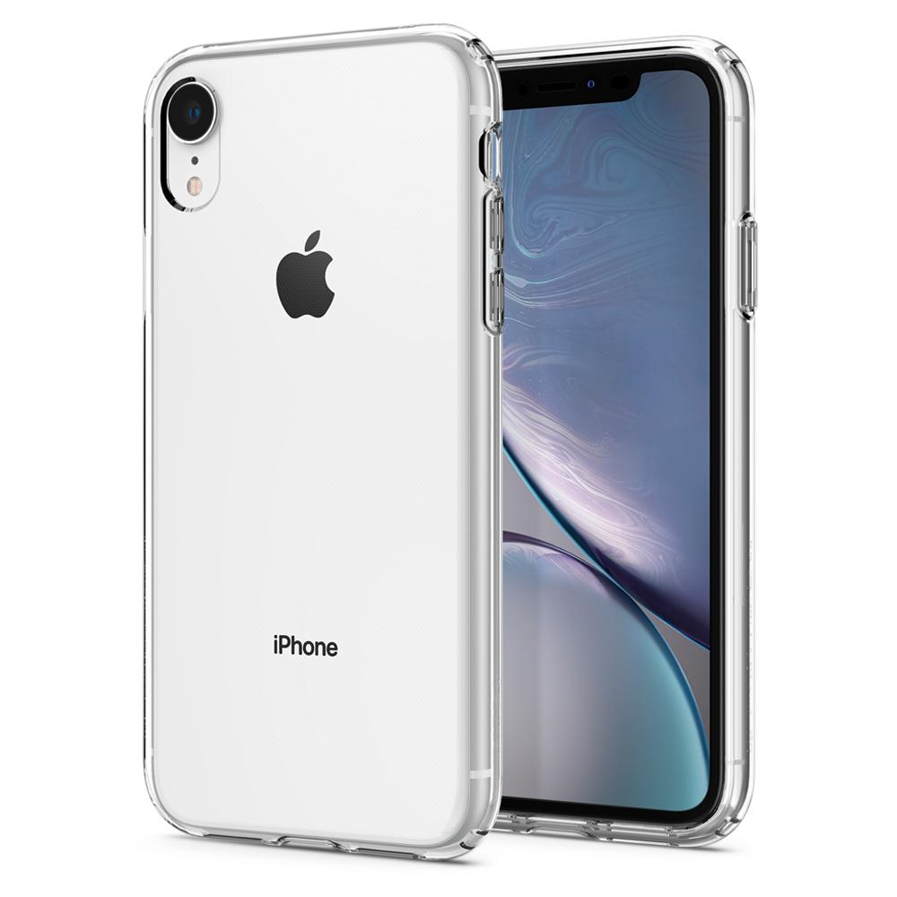 Liquid Crystal	Crystal Clear	Case	back design and a front view of the edge around the	iPhone XR	device.