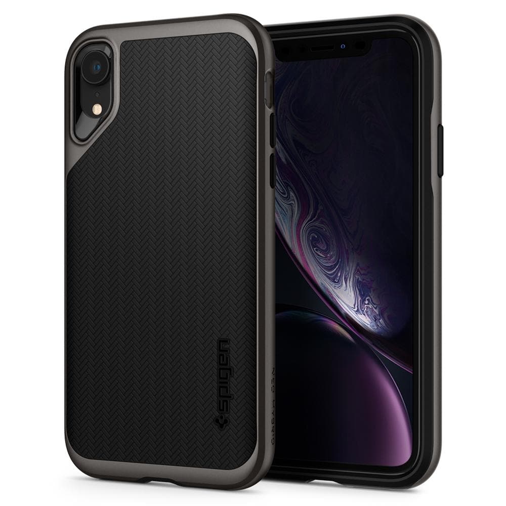 Neo Hybrid	Gunmetal	Case	back design and a front view of the edge around the	iPhone XR	device.