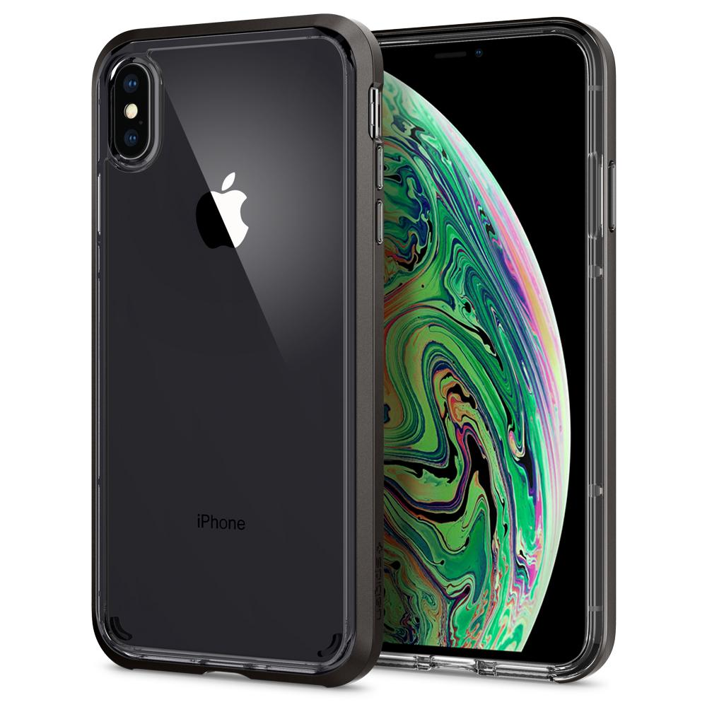 Neo Hybrid Crystal	Gunmetal	Case	back design and a front view of the edge around the	iPhone XS Max	device.