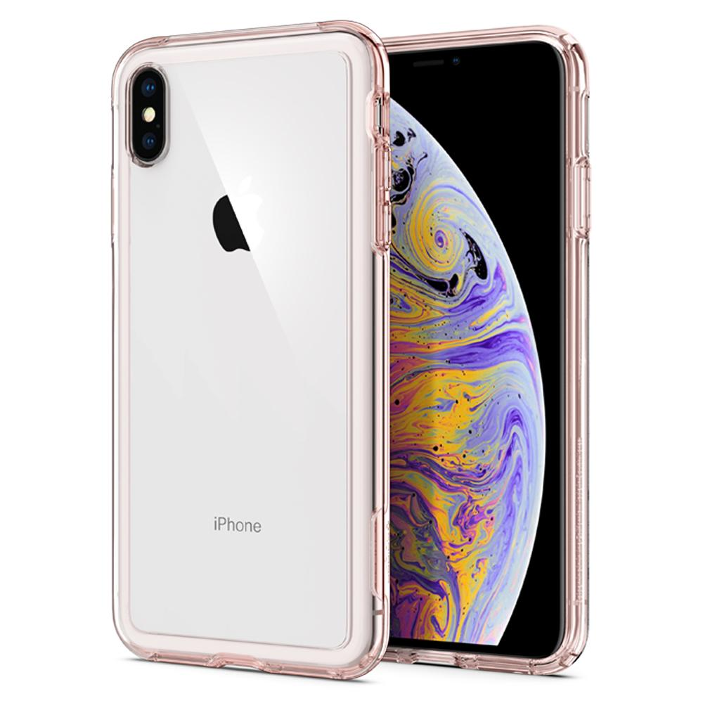 Slim Armor Crystal Rose Crystal Case	back design and a front view of the edge around the	iPhone XS Max	device.
