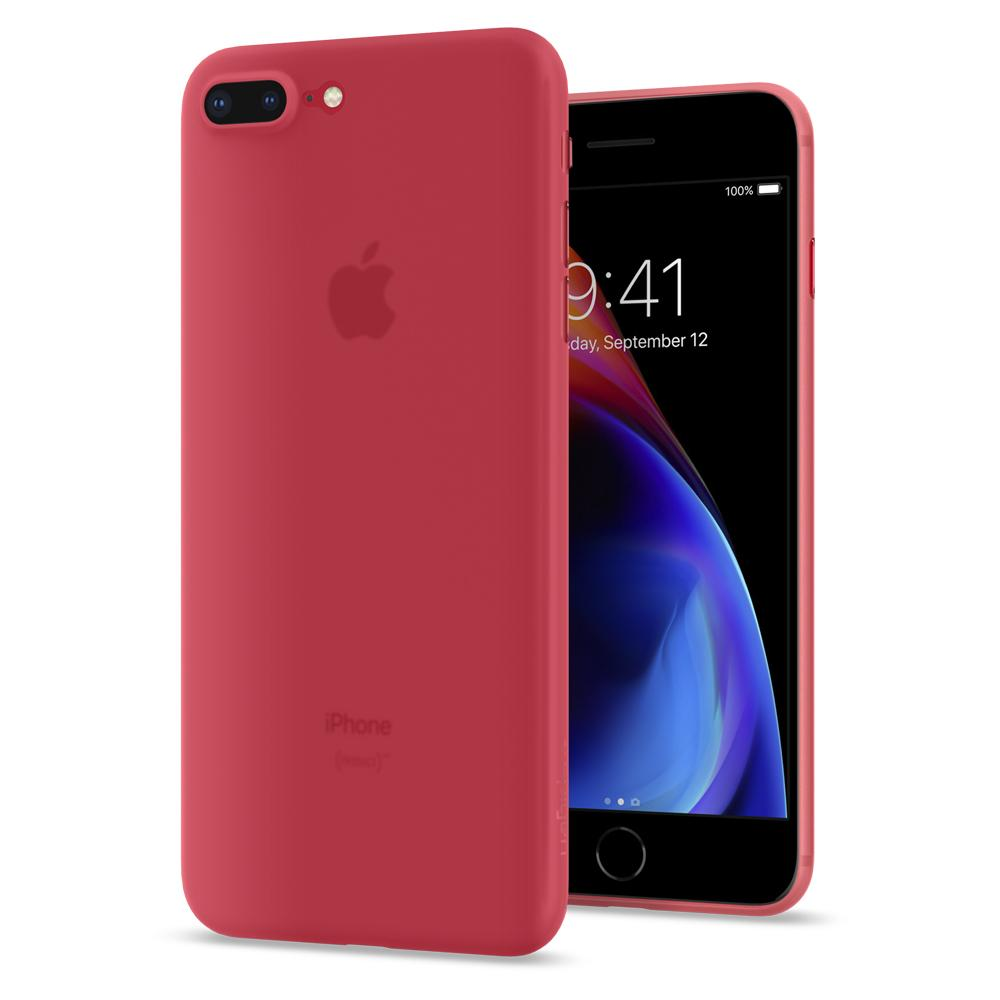 Air Skin	Red	Case	back design and a front view of the edge around the	iPhone 8 Plus	device.