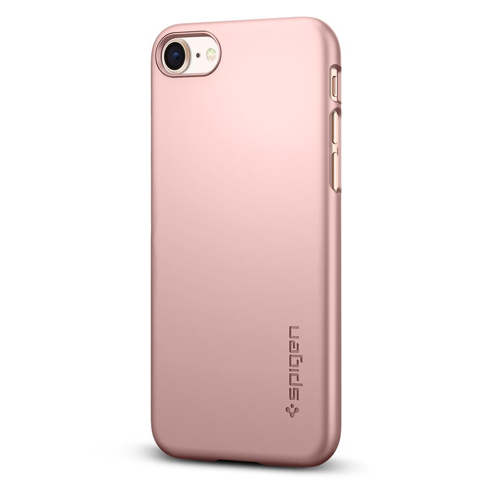 Thin Fit	Rose Gold	Case	facing backwards showing the back design with the camera cutout on the	iPhone 8	device.