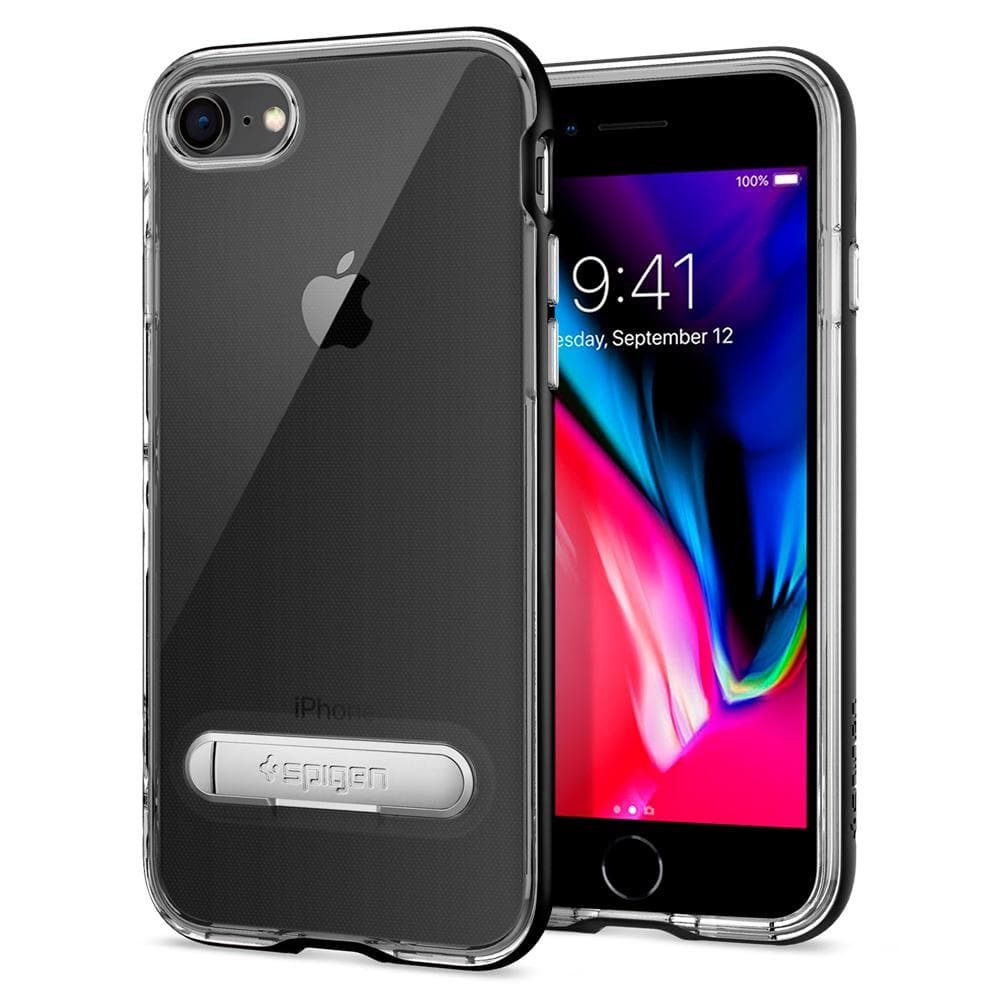 Crystal Hybrid	Black	Case	back design and a front view of the edge around the	iPhone 8	device.