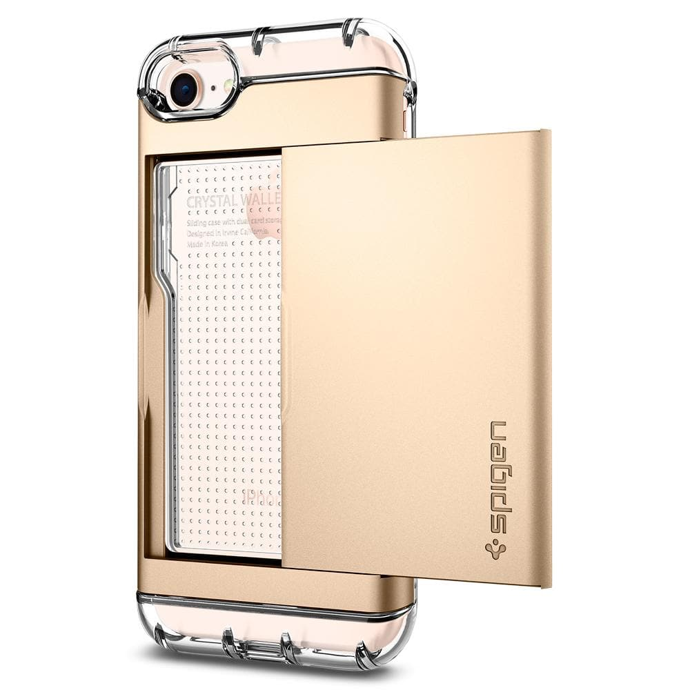 Crystal Wallet	Champagne Gold	Case	showing the back design on the	iPhone 8	device.