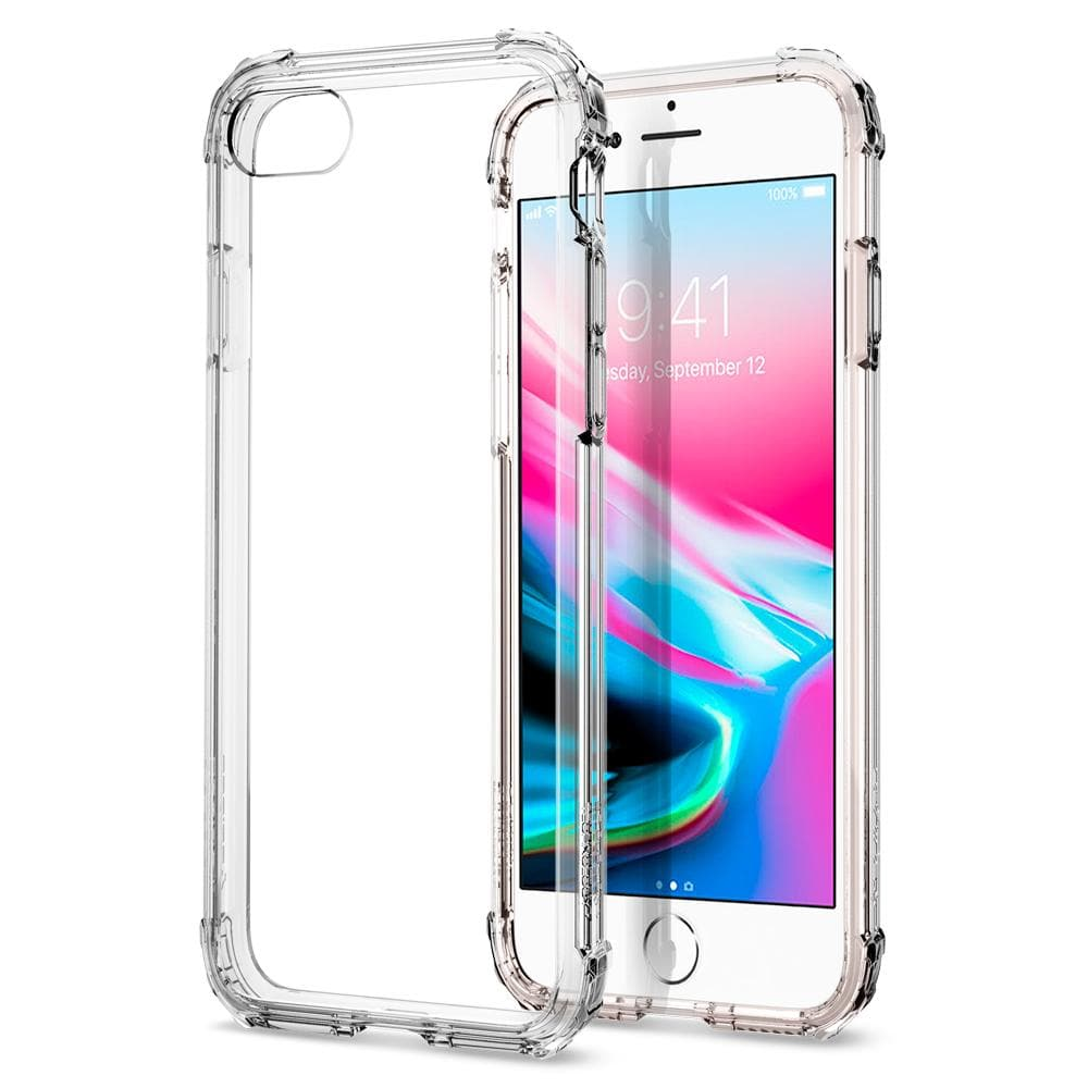 Crystal Shell	Clear Crystal	Case	back design and a front view of the edge around the	iPhone 8 device.