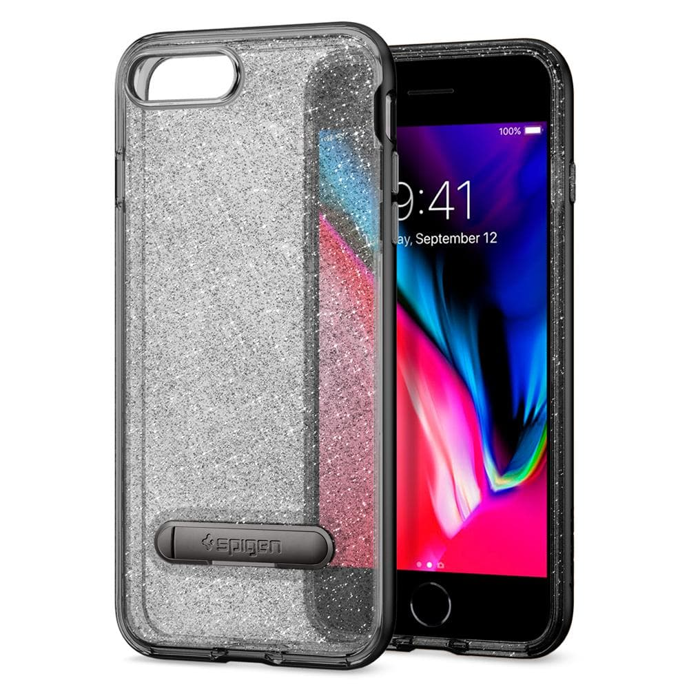 Crystal Hybrid Glitter	Space Quartz	Case	back design and a front view of the edge around the	iPhone 8 Plus	device.