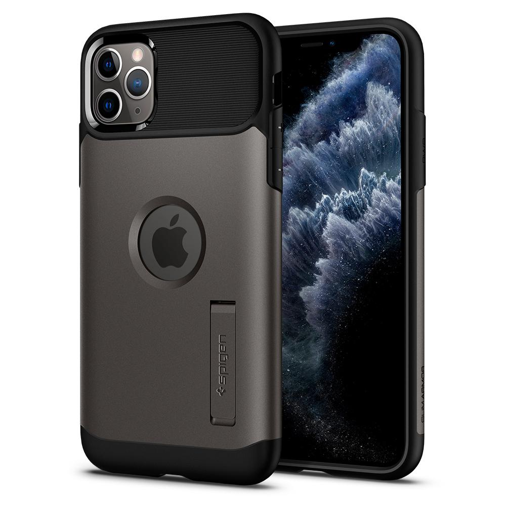 Slim Armor	Case	Gunmetal	back design and a front view of the edge around the	iPhone 11 PRO	device.