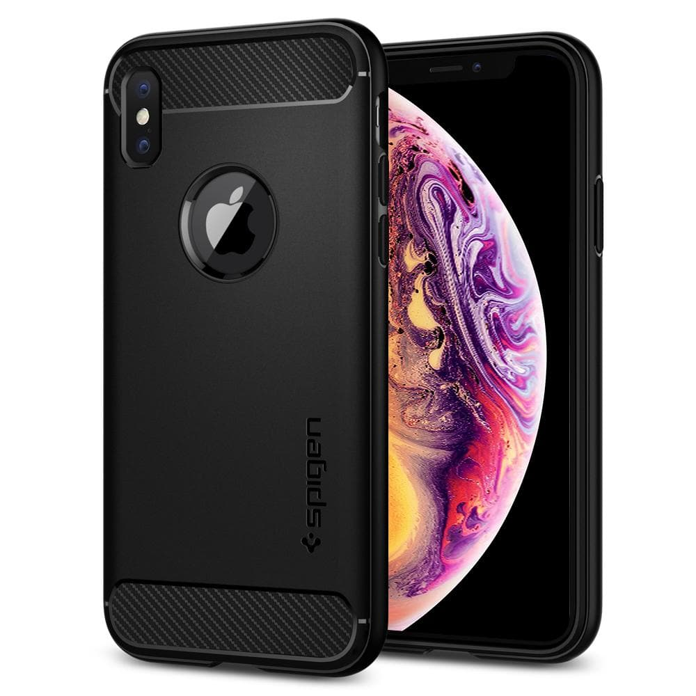 Rugged Armor	Matte Black	Case	back design and a front view of the edge around the	iPhone XS/X	device.