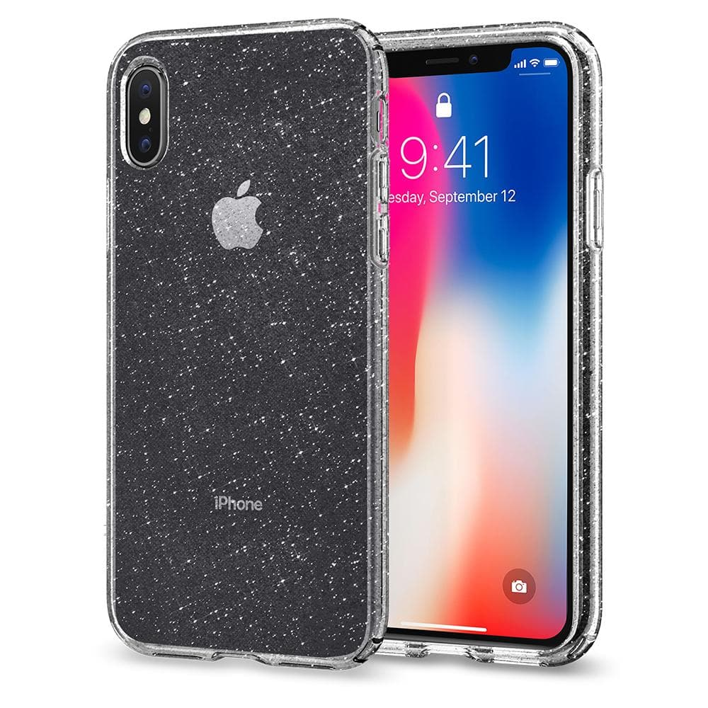 Liquid Crystal Glitter	Crystal Quartz	Case	back design and a front view of the edge around the	iPhone XS/X	device.