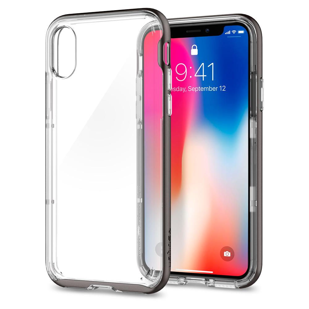 Neo Hybrid Crystal	Gunmetal	Case	back design and a front view of the edge around the	iPhone XS/X	device.