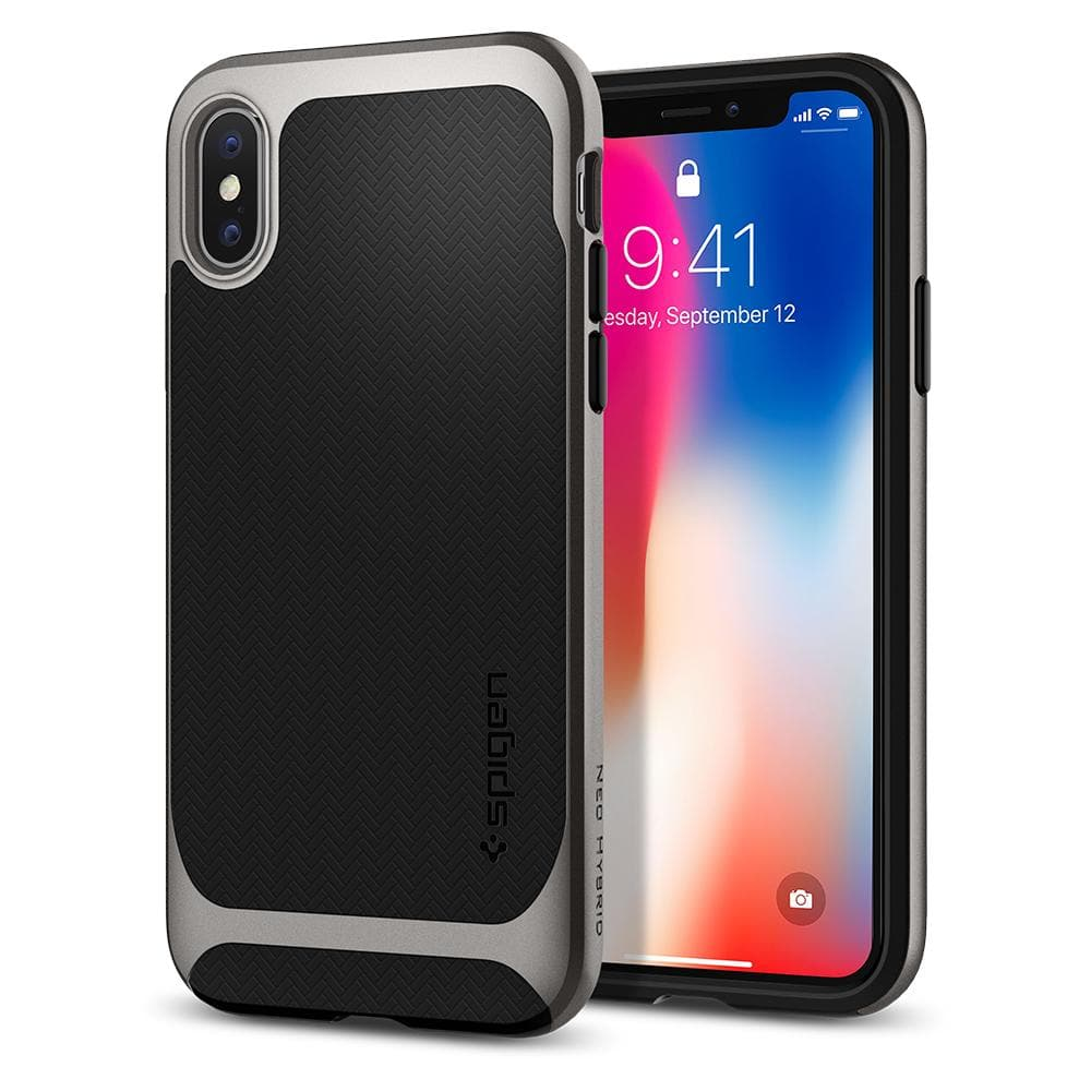 Neo Hybrid	Gunmetal	Case	back design and a front view of the edge around the	iPhone X	device.