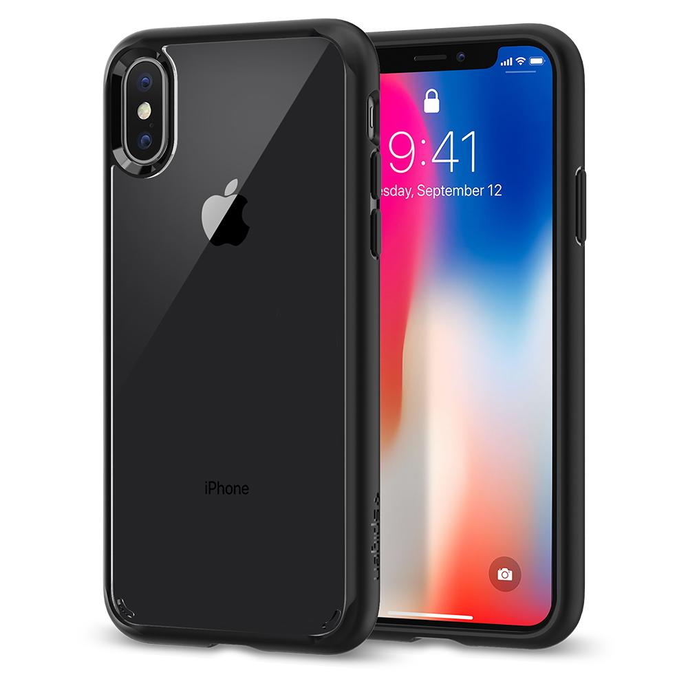 Ultra Hybrid	Matte Black	Case	back design and a front view of the edge around the	iPhone X	device.