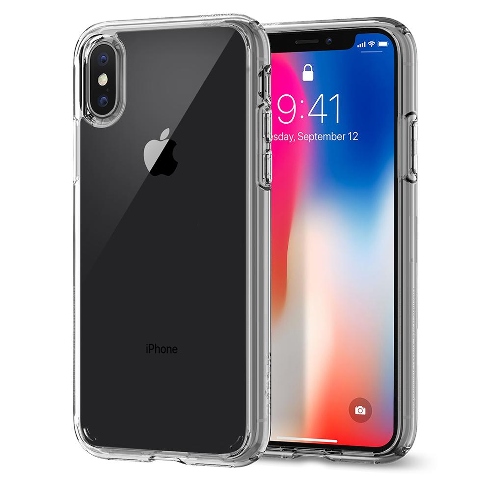 Ultra Hybrid	Crystal Clear	Case	back design and a front view of the edge around the	iPhone X	device.
