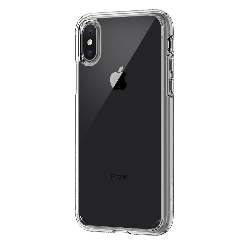 Ultra Hybrid	Crystal Clear	Case	facing backwards showing the back design with the camera cutout on the	iPhone X	device.