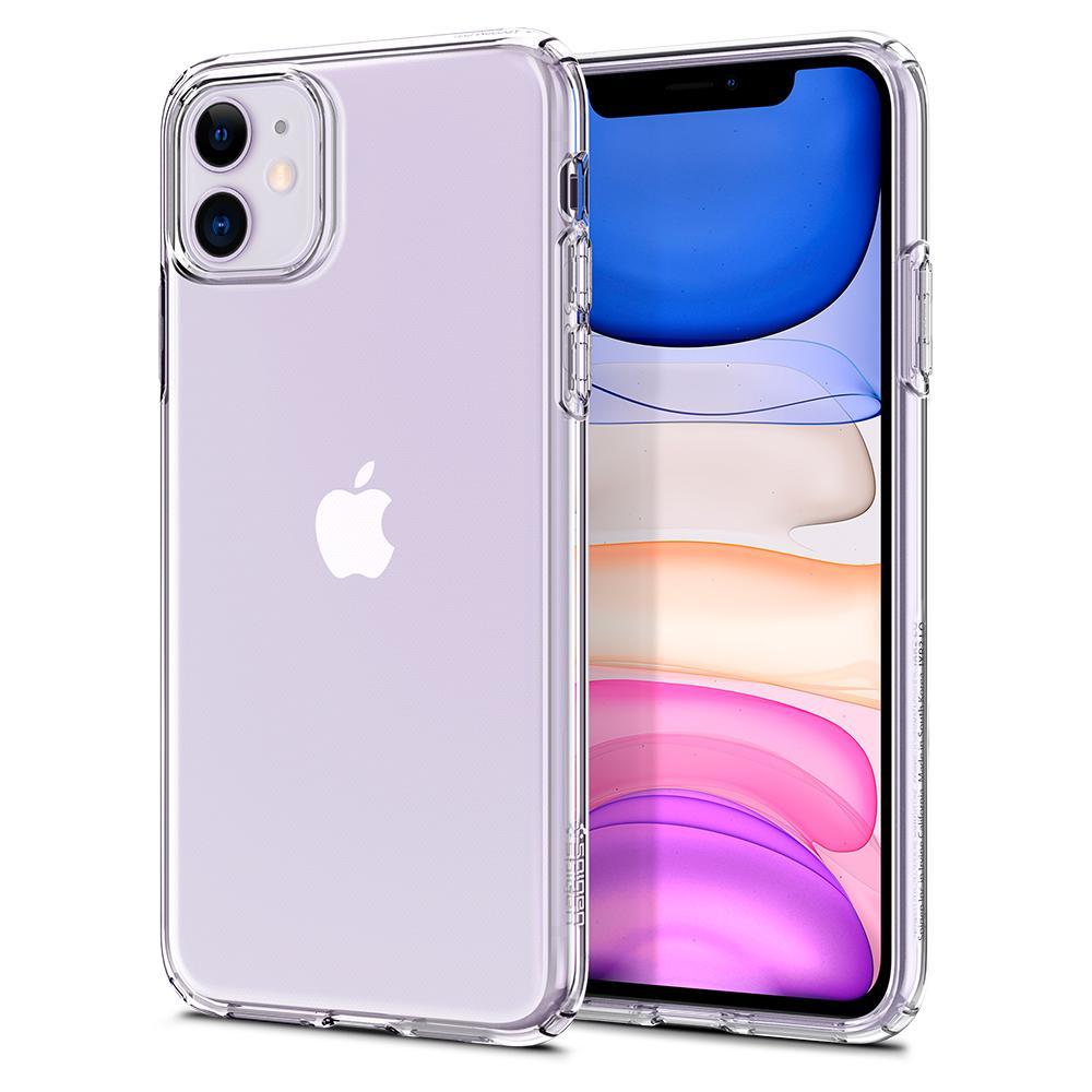 Liquid Crystal	Case	Crystal Clear	back design and a front view of the edge around the	iPhone 11	device.