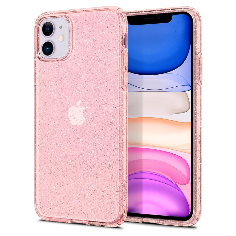 Liquid Crystal Glitter	Case	Rose Q	back design and a front view of the edge around the	iPhone 11	device.
