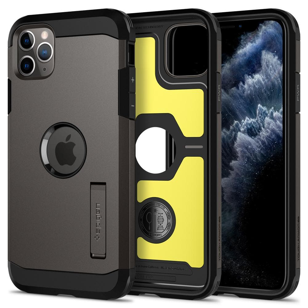 Tough Armor	Case	XP Gunmetal	showing the back design, inner lining with yellow impact foam, and front view of the edge around the	iPhone 11 PRO	device.