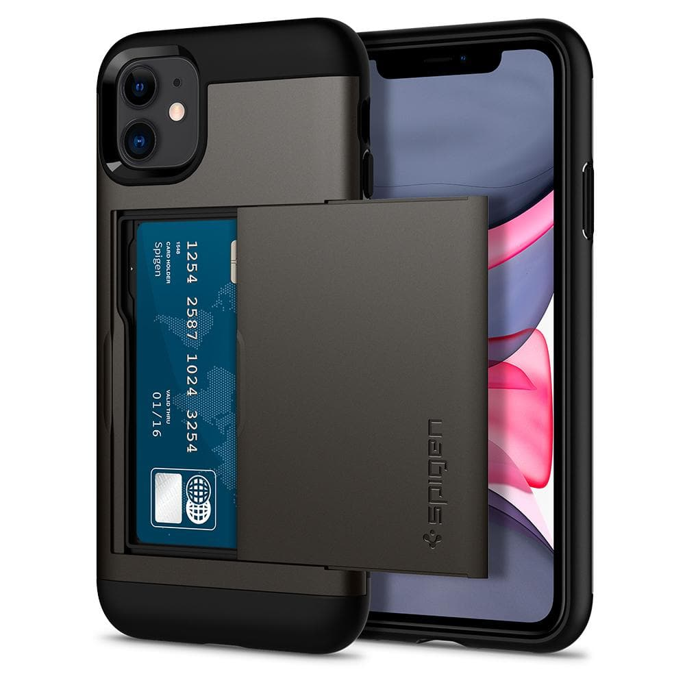 Slim Armor CS	Case	Gunmetal	back design and a front view of the edge around the	iPhone 11	device.