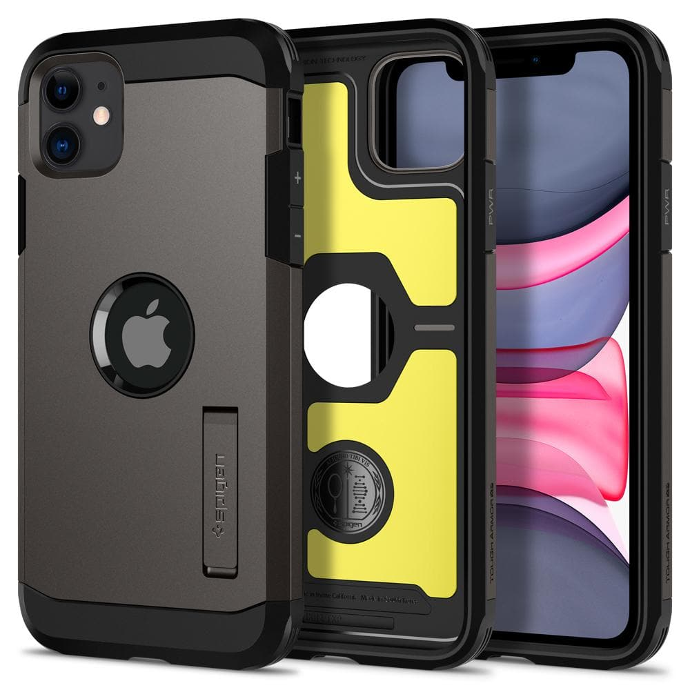 Tough Armor	Case	XP Gunmetal	showing the back design, inner lining with yellow impact foam, and front view of the edge around the	iPhone 11	device.