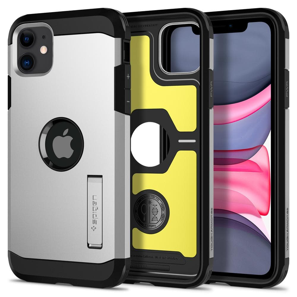 Tough Armor	Case	XP Satin Silver	showing the back design, inner lining with yellow impact foam, and front view of the edge around the	iPhone 11	device.