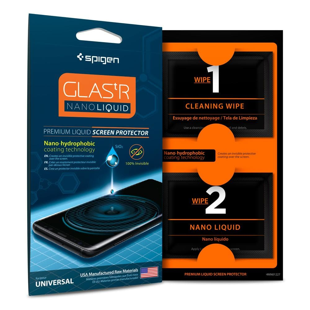 Screen Protector GLAS.tR Nano Liquid showing the outside packaging and what is inside: wipe 1 (cleaning wipe) and wipe 2 (nano liquid)