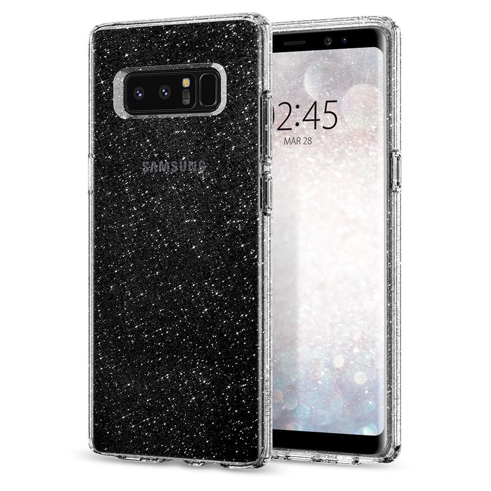 Liquid Crystal Glitter	Crystal Quartz	Case	back design and a front view of the edge around the	Galaxy Note 8	device.