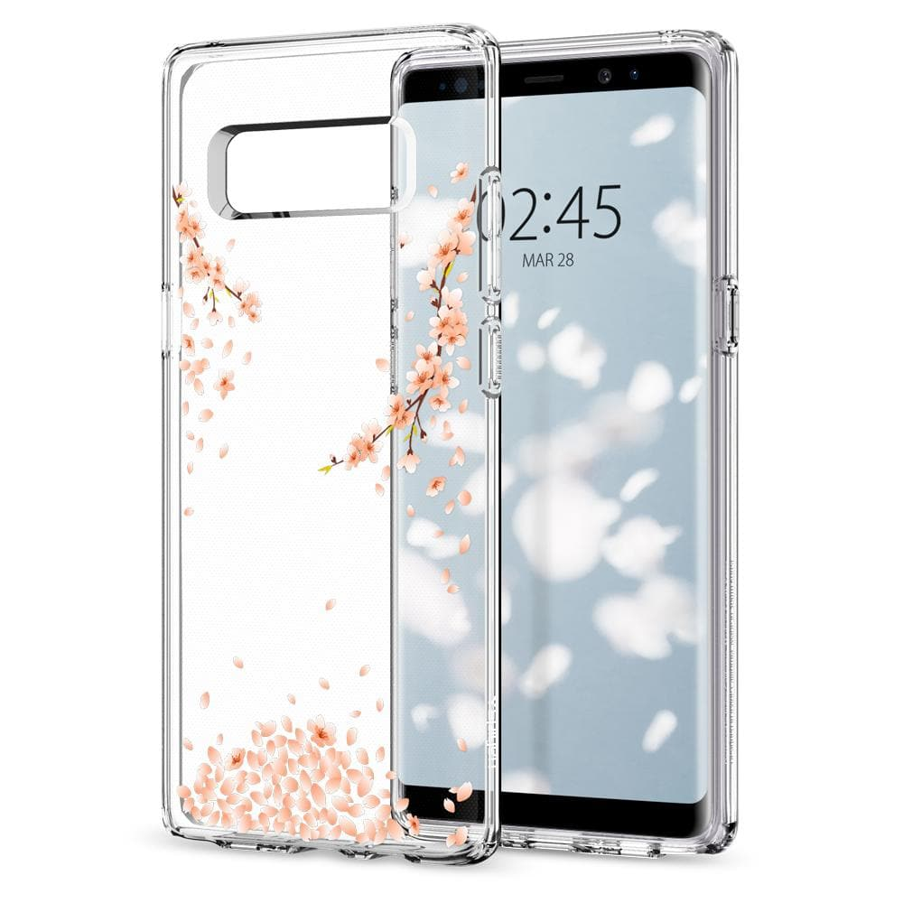 Liquid Crystal Blossom	Crystal Clear	Case	back design and a front view of the edge around the	Galaxy Note 8	device.
