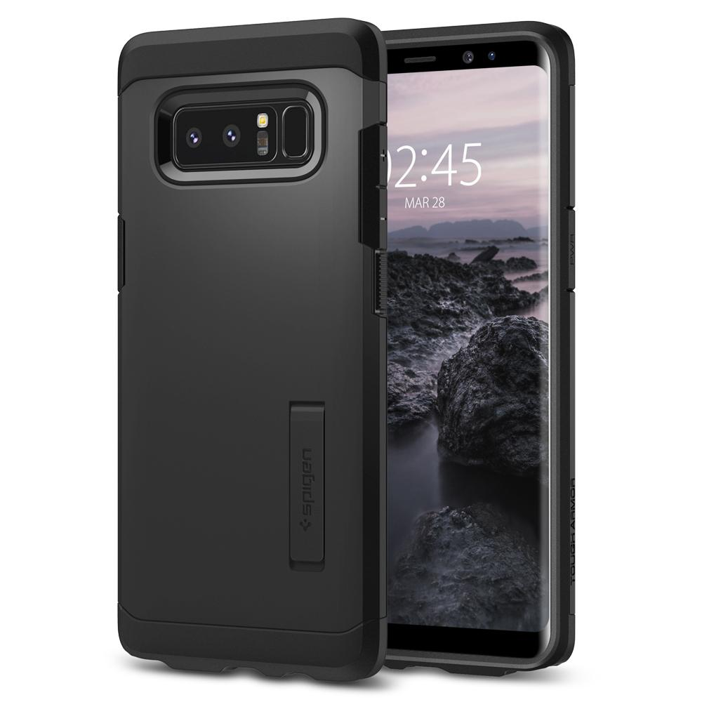 Tough Armor	Black	Case	back design and a front view of the edge around the	Galaxy Note 8	device.