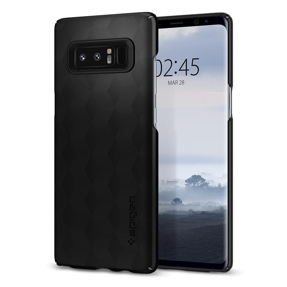 Thin Fit	Matte Black	Case	back design and a front view of the edge around the	Galaxy Note 8	device.